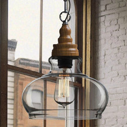 Northic Wood Cap and Clear Glass Shade Pendant Lighting - Northic Wood Cap and Clear Glass Shade Pendant Lighting