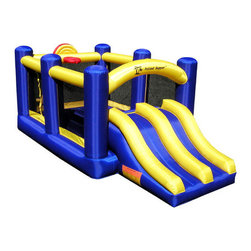 Island Hopper - Racing Slide and Slam Bounce House - Features: -It's perfect in the back yard, or, with its seven-foot-tall compact size, fits in any room or garage.-Get serious hang time, make jaw-dropping dunks on the basketball hoop, and then race your opponents on the side-by-side slide-by-slide.-Giant jumps, crazy dunks, and twin racing slides: Finally, a game of basketball that makes sense!.-Double-stitched reinforced seams and reinforced jump surface.-Side air blower access port for easy set-up.-ASTM compliant puncture and fire resistant.-CL certified constant air blower with GFCI circuit breaker.-Maximum load of 5 kids or 500 lbs..-The heavy vinyl and nylon construction with reinforced seams and jumping surface give you the 66-inch vertical leap you always dreamed of.-Distressed: No.Dimensions: -Overall Height - Top to Bottom: 96.-Overall Width - Side to Side: 96.-Overall Depth - Front to Back: 132.-Overall Product Weight: 56 lbs.Warranty: -1-year blower warranty.-90-day bounce house limited warranty.