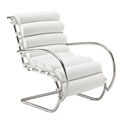 "LexMod - Ripple Lounge Chair in White - Ripple Lounge Chair in White - You need to at least imagine water in front of you to fully experience this piece. As with the ripple after-effects caused by the toss of a pebble, theres no telling where the Ripple Lounge Armchair will take you. For those who appreciate natural resolve, without the need to know the destination point, then Ripple is for you. The rounded polished steel tube arms, and ribbed leather seat, creates an intuitive and free-thinking environment that inspires. But while there is a starting point to this innovative design, there is no foreseeable end to this piece perfectly positioned for progress. For use by the pool, beach, or any patio area filled with that contemporary feel. Set Includes: One - Ripple Lounge Armchair Modern lounge armchair, Ergonomic ribbed leather seat, Foam padding underneath leather, Polished stainless steel frame Overall Product Dimensions: 35""L x 20.5""W x 33.5""H Seat Dimensions: 22""L x 17.5""H Armrest Dimensions: 1""W x 21.5 - 22.5""HBACKrest Dimensions: 3.5""W x 15 - 16.5""H Space Between Armrest and Seat: 3.5 - 5.5""H Cushion Thickness: 2.5""Hbrase Dimensions: 18.5 - 28.5""L x 23.5""W - Mid Century Modern Furniture."