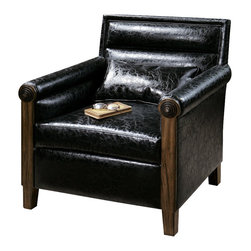 "Uttermost - Uttermost Ormond Leather Armchair - Ormond Leather Armchair by Uttermost The Quintessential Club Chair Modernized With Sleek, Horizontal Channel Tufting, Squared Off Back And Rolled Arms With Metal Bull's-eye Detail. Breathable And Cleanable, Black Faux Leather With Solid Pine Frame. Pillow Included. Seat Height Is 19""."