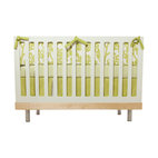 Oilo - Modern Berries 3-piece Crib Set, Spring Green - This playful design is the perfect combination of modern lines and a classic color combination. The modern berries complement the bold stripes and are a match made in heaven for a contemporary nursery. The set comes with a bumper, bed skirt and fitted sheet — everything you need to bring home baby.