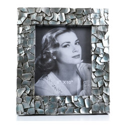 "Concepts Life - Concepts Life Photo Frame  Sacred Mantle  8x10"" - Add luxurious shimmer and texture to your most beloved photographs with our Sacred Mantle Photo Frame. These dazzling silver frames feature a shell like finish and look stunning when they catch a ray of light.  Modern home accent Contemporary silver picture frame Beautiful and elegant home accent Rectangular photo frame Made of polyresin Textured finish with shimmer Easel back for horizontal or vertical display Various sizes available Holds 8 x 10 in. size photo Dimensions: 12""w x 14""h x 1""d Weight: 3.5 lbs"