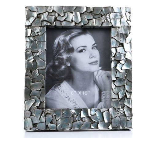 """Concepts Life - Concepts Life Photo Frame  Sacred Mantle  8x10"""" - Add luxurious shimmer and texture to your most beloved photographs with our Sacred Mantle Photo Frame. These dazzling silver frames feature a shell like finish and look stunning when they catch a ray of light.  Modern home accent Contemporary silver picture frame Beautiful and elegant home accent Rectangular photo frame Made of polyresin Textured finish with shimmer Easel back for horizontal or vertical display Various sizes available Holds 8 x 10 in. size photo Dimensions: 12""""w x 14""""h x 1""""d Weight: 3.5 lbs"""