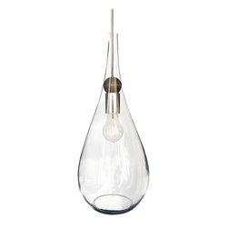 Hammers & Heels - Glass Teardrop Pendulum Lamp Shade- Brushed Nickel - RUSTIC MEETS MODERN WOOD PENDANT