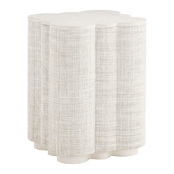 Lexington - Lexington Ivory Key Spar Point Chairside Table 543-954 - The quadrefoil shape is covered in woven raffia on the sides as well as the top. The top features a solid rim.
