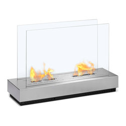 Moda Flame - Braga Free Standing Floor Indoor Outdoor Ethanol Fireplace - The Braga modern ethanol fireplace looks absolutely stunning as its design provides a unique touch in any atmosphere. With a solid steel base and two tempered glass sheets on each side of the burner, the Braga is well prepared for both indoor and outdoor enchanter.