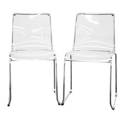 Baxton Studio - Lino Transparent Accent Chair Dining Chair (Set of 2) - These vividly-colored modern dining chairs will instantly change the