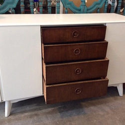 Mid Century by Nathan - Buffet - White w/Stained Drawers - Mid Century by Nathan - Buffet