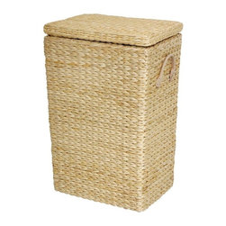 "Oriental Furniture - Rush Grass Laundry Basket, Natural - This piece of woven rush grass furniture provides an attractive alternative to wicker and rattan furniture. This clothes hamper has a distinctive tapered design, with a small ""footprint"". The outside is soft, thick, woven rush grass, with a cotton fabric lining inside. The hinged lid and convenient faux leather handles, as well as the lovely color options, make this an excellent quality laundry basket. Woven wicker and rattan clothes baskets were common in American homes for many years, until plastic replaced them. All natural, ecologically abundant, woven rush grass seems to hold more appeal for some customers, Earthy and sensual. An attractive clothes hamper is a great decorative accessory for bedroom or bath, and for a new couple, it's a great wedding gift idea!"