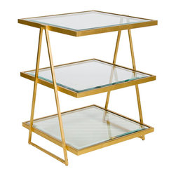 Worlds Away - Worlds Away 3 Tier Square Gold Leaf Table with Beveled Glass Tops JARMON G - Worlds Away 3 Tier Square Gold Leaf Table with Beveled Glass Tops JARMON G