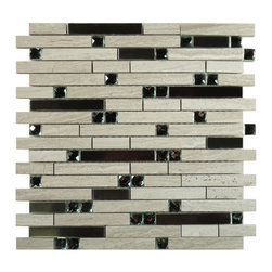 Euro Glass - Symphony Peaceful Breeze Grey Metal and Stone Polished Metal and Stone - Sheet size: 1 Sq. Ft.
