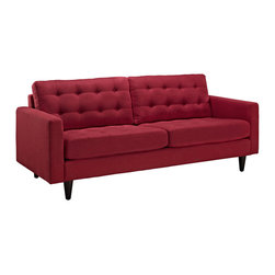 Modway - Modway EEI-1011 Empress Sofa in Red - End the rule of unjust sovereignties that wage a useless war for your interiors. Empress leaves the would be heiress of holistic furnishings in the dust, with a design that rivals any competitor. Empress is heralded with deeply tufted buttons, plush cushions and armrests that convey that perfect air of nobility. The solid wood legs come with plastic glides to prevent floor scratching, and the fine fabric upholstery leaves the recipients feeling richly rewarded.