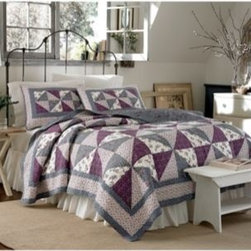 Laura Ashley - Laura Ashley Selena Quilt - Timeless floral prints from the Laura Ashley archives are intricately pieced together in the Serena quilt. Rich berry tones intermingle with subtle shades of slate blue to form this sophisticated color palette.
