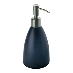 Gedy - Round Blue Frosted Glass Soap Dispenser - Radiant, blue frosted glass gel dispenser. Round, contemporary designed free-standing liquid soap dispenser for the bathroom counter. Lotion dispenser hand pump is made out of brass with a polished chrome finish. From Gedy's Camelia Collection. Made in It