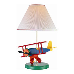 Lite Source - Airplane Lamp w White Clip On Shade - Includes fluorescent bulb. Shade dimension: 5 in. L x 14 in. W x 9 in. H. Lamp dimension: 15 in. W x 22 in. H (8.6 lbs.). Product Installation Instructions