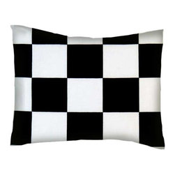 SheetWorld - Twin Pillow Case - Percale Pillow Case - Black and White Large Checkerboard - Pillow case is made of a durable all cotton percale/woven material. Fits a standard twin size pillow. Side Opening. Features a black & white large checkerboard gingham check print.