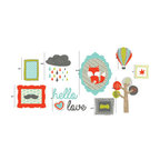 """the lovely wall co - Hello Love Boys Gallery Wall - Wall Decal - 50.25"""" W x 24"""" H combined measurement as seen in layout pictured"""