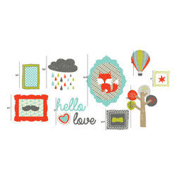"the lovely wall co - Hello Love Boys Gallery Wall - Wall Decal - 50.25"" W x 24"" H combined measurement as seen in layout pictured"