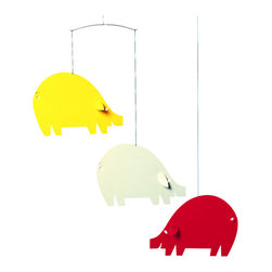 Flensted Mobiles - Piggy Mobile, Yellow and Red - This little piggy (or trio of piggies) is a wonderful addition to your farm-themed nursery or country kitchen. It adds a note of whimsy wherever it hangs.