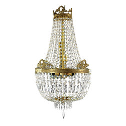 Oriental Furniture - Crystal Beads Chandelier - Crystal and cast bronze chandelier featuring a combination of materials and design styles. The cast bronze crown and collar frames accentuate stenciled art on the bands beneath the decorative floral rings. Various sized round and rectangular cut glass beads drape from tier to tier. Dangling glass prisms encircle the crystal finial. A luxurious lighting solution in the dining room, entry way, or sitting room. Professional installation recommended.