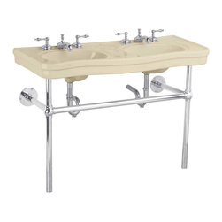 "Renovators Supply - Double Vanity Bone Console Sink Chrome Frame 8"" - Double Vanity: Belle Epoque double deluxe."