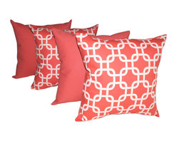 Land of Pillows - Premier Prints Gotcha Coral and Solid Coral Decorative Throw Pillows - Set of 4 - For a cool, coral look for your sofa, day bed, or patio furniture, look no further than this set of chic throw pillows. This vibrant pillow set includes two pillows with an interlocking white geometric pattern on a coral background and two that are solid coral. Mix and match throughout the room for the perfect design effect. These square pillows are crafted from a durable fabric that is stain, fade and water resistant!