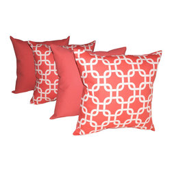 Land of Pillows - Premier Prints Gotcha Coral and Solid Coral Decorative Throw Pillows - Set of 4, - Fabric Designer - Premier Prints