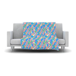 """Kess InHouse - Nandita Singh """"Abstract Print Blue"""" Blue Pink Fleece Blanket (50"""" x 60"""") - Now you can be warm AND cool, which isn't possible with a snuggie. This completely custom and one-of-a-kind Kess InHouse Fleece Throw Blanket is the perfect accent to your couch! This fleece will add so much flare draped on your sofa or draped on you. Also this fleece actually loves being washed, as it's machine washable with no image fading."""