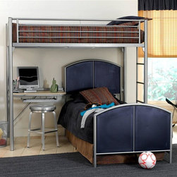 Hillsdale Furniture - Universal Youth Kids Loft in Silver Tone & Na - Add both extra space and style to your child's bedroom or dorm room with this stylish and functional bed set, featuring a twin bunk bed over a streamlined student desk for added function. The set has an industrial feel and is made of metal in silver tone and navy finishes. For residential use. NOTE: ivgStores DOES NOT offer assembly on loft beds or bunk beds.. Includes deck, rails and desk. Mesh twin bed not included. 79 in. L x 47.75 in. W x 73 in. H. Desk: 54 in. W x 24 in. D x 29.5 in. H. Bunk bed Warning. Please read before purchase.