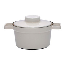Contemporary Cooking Pot, Gray - Suitable for all cooking surfaces, this cooking pot has a lid and side handles for your convenience, while its non-porous interior protects your food from unwanted flavors.
