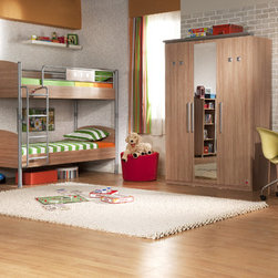 Modern Wood - This elegantly designed bedroom set offers a clean and functional look. Matching bunk beds in a wood finish. Metal side rails, legs and ladder complete the look. The piece, which can be detached and used as 2 separate beds, stands out with its strength as well as design and functionality.  Chest of drawers come with metal hardware.