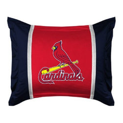 Sports Coverage - MLB St. Louis Cardinals Sidelines Pillow Sham - Make that new officially licensed MLB St. Louis Cardinals Sidelines Pillow Sham look as good as it feels. A must have for any true fan. A New Design - Same great quality!! Show your team spirit with this officially licensed MLB Sham. Shams are 31 x 25 including flanged edges. 3 overlapping envelope closure is on back. 100% Polyester Jersey. Logo is screenprinted. Machine washable.
