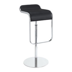 Modway - LEM Barstool in Black Genuine Leather by Modway Furniture - The LEM Style Bar Stool has sleek lines that would be equally impressive in a restaurant or at home. Our premium version has a high quality Italian leather seat. Perfect for entertaining guests at restaurants, your home bar, or for stylish seating around the kitchen counter.