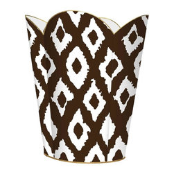 """Marye Kelley - Marye Kelley Brown Ikat Decoupage Wastebasket with Optional Tissue Box, 12"""" Flut - This is a handmade decoupage wastebasket with optional tissue box.  All items are handmade in the USA.  There are three different styles available.  There is the 12"""" Fluted Tin Design, the 11"""" Square Design with a flat top or the 11"""" Square design with a scalloped top.  Coordinating tissue boxes may also be made. Please note all items are custom made and may not be returned."""