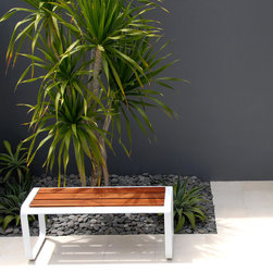 Lebello - Lebello - Modern Outdoor Backless Bench - Skin 2 - Skin 2 by Lebello is a modern outdoor two seater backless bench seating, designed with 69 tons of force to create a solid aluminum curve. The design system includes single and double stool/benches along with a table series. Top inserts are customizable and include FSC certified teak, CL lamination or weaving panels.