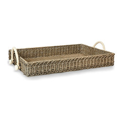 Rectangular Wicker Tray - Used as a display piece to lend a depth of textured sophistication to your d�cor, or included in the laying of your farmhouse table as a rustic, thoughtful server, the Rectangular Wicker Tray is a wonderful companion to nostalgic textiles and a subtle dose of weathered grey for your palette. White cotton rope handles make it easier to carry this sturdy piece.