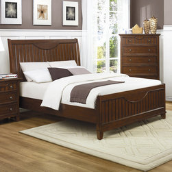 Woodbridge Home Designs - Alyssa Panel Bed - Features: -Alyssa Collection.-Powder Coated Finish: No.-Gloss Finish: No.-Frame Material: Wood; Manufactured wood -Frame Material Details: Rubber wood and MDF..-Solid Wood Construction: No.-Upholstered: No.-Non Toxic: Yes.-Scratch Resistant: No.-Joinery Type: Groove.-Mattress Included: No.-Recommended Mattress Height: 8.-Box Spring Required: Yes -Boxspring Included: No.-Recommended Boxspring Height: 6.-Boxspring Profile Maximum: 8.-Boxspring Profile Minimum: 6..-Headboard Storage: No.-Footboard Storage: No.-Underbed Storage: No.-Slats Required: Yes -Number of Slats Required: 3.-Slats Included: Yes..-Center Support Legs: Yes.-Adjustable Headboard Height: Yes.-Adjustable Footboard Height: No.-Wingback: No.-Trundle Bed Included: No.-Attached Nightstand: No.-Cable Management: No.-Built in Outlets: No.-Lighted Headboard: No.-Finished Back: No.-Reclaimed Wood: No.-Number of Center Support Legs: 2.-Distressed: No.-Bed Rails Included: Yes.-Collection: Alyssa.-Eco-Friendly: Yes.-Recycled Content: Yes -Total Recycled Content (Percentage): 90%.-Post-Consumer Content (Percentage): 30%.-Remanufactured/Refurbished : No..-Wood Moldings: No.-Canopy Frame: No.-Hidden Storage: No.-Jewelry Compartment: No.-Weight Capacity: 550.-Swatch Available: No.-Commercial Use: No.Specifications: -FSC Certified: No.-EPP Compliant: Yes.-CPSIA or CPSC Compliant: No.-CARB Compliant: Yes.-JPMA Certified: No.-ASTM Certified: No.-ISTA 3A Certified: No.-PEFC Certified: No.-General Conformity Certificate: No.-Green Guard Certified: No.Dimensions: -Overall Height - Top to Bottom (Size: California King): 54.5.-Overall Height - Top to Bottom (Size: King): 54.5.-Overall Height - Top to Bottom (Size: Queen): 54.5.-Overall Width - Side to Side (Size: California King): 76.-Overall Width - Side to Side (Size: King): 80.-Overall Width - Side to Side (Size: Queen): 64.-Overall Depth - Front to Back (Size: King): 84.-Overall Depth - Front to Back (Size: Queen): 84.-Overall Product Weight (Size: Queen): 112.2.-Headboard Dimensions Height (Size: California King): 54.5.-Headboard Dimensions Height (Size: King): 54.5.-Headboard Dimensions Height (Size: Queen): 54.5.-Headboard Width Side to Side (Size: California King): 76.-Headboard Width Side to Side (Size: King): 80.-Headboard Width Side to Side (Size: Queen): 64.-Headboard Depth Front to Back (Size: California King): 4.-Headboard Depth Front to Back (Size: King): 4.-Headboard Depth Front to Back (Size: Queen): 4.-Footboard Width - Side to Side (Size: California King): 76.-Footboard Width - Side to Side (Size: King): 80.-Footboard Width - Side to Side (Size: Queen): 64.-Bottom of Side Rail to Floor (Size: California King): 5.75.-Bottom of Side Rail to Floor (Size: King): 6.-Bottom of Side Rail to Floor (Size: Queen): 6.Assembly: -Assembly Required: Yes.-Tools Needed: Screwdriver and Allen wrench.-Additional Parts Required: No.Warranty: -Product Warranty: 90 day warranty.