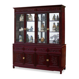 China Furniture and Arts - 72in Rosewood Flower and Bird Motif China Cabinet - A grand curio cabinet to display your treasured collectibles. Hand-carved flower & bird motif which symbolize happiness and good luck in Chinese culture decorated the entire cabinet. Made of solid rosewood with traditional joinery techniques for long lasting durability by artisans in China. Mirror, halogen lights, and adjustable shelves for the upper cabinet. Two big cabinets with removable shelf inside and four drawers in the lower portion providing ample storage space for your convenience. Hand applied classic cherry finish enhances the extraordinary beauty and opulence of solid rosewood.