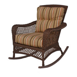 Wicker Paradise - Vinyl Wicker Rocker: Savannah Collection - A Vinyl Wicker Rocker gives you the look of a classic wicker porch rocker with the protection of vinyl wicker. Rest easily knowing that your rocker is made from the finest materials and is made to last. Our U.S. made cushions are thick and comfortable and you can customize your rocker to look picture-perfect. Make your area feel so much more homey by adding this vinyl wicker rocker to your home!  The Savannah rocker in the picture is shown in our Sunbrella striped fabric called Dupione Carnegie Hearth. Solid, striped, or floral fabrics look great on this rocker, so select one to compliment the brown lattice weave characteristic of the Savannah vinyl wicker collection.    Vinyl Wicker Rocker: Savannah Collection   Bark finish is natural-looking and perfect for any color palette.  Cushions fabricated in the United States come in a variety of fabrics.  Combination of high-back and wide arms for additional comfort
