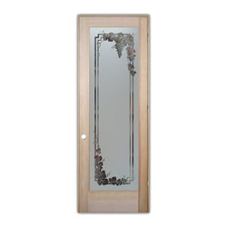 Sans Soucie Art Glass - Pantry Door - Vineyard Grapes Garland Glass, 25.5 x 4.56 x 81.5 - Pantry Door - Decorative, hand-crafted sandblast etched glass pantry door, featuring Sans Soucie's Vineyard Grapes Garland.24 x 80 Douglas Fir Interior 1-3/8 in. thick Solid Core Veneer Book Door (no hinge cut-outs or bore hole). Unfinished wood door by mfr. T.M. Cobb, ready for paint or stain. Glass is 1/8 in. thick clear tempered glass.Decorative elements are clear glass.Background is solid frost sandblast etched obscure. Sandblasted surface will be to the inside of the pantry, smooth glass surface will be to the exterior, outside the pantry.Sandblast surface will ship with adhesive film for ease of painting or finishing that is to be removed after paint or staining.No Hardware is included.Sans Soucie Art Glass has been setting the standard for high quality, custom designed etched glass since 1976.This Decorative Sandblast Etched Glass Pantry Door adds a beautiful, custom element to your kitchen!