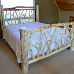 Rustic Furniture Portfolio - King size log bed - random twig design