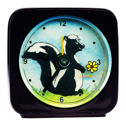 Skunk Alarm Clock - Great for kids or adults, our alarm clocks can't help but make you smile. Made from an orginal painting, each clock is 2'' square with a round face. The second hand is a small image, which appears to float magically above the clock face. On our adorable Skunk Alarm Clock the little flower floats around the edge of the clock as it counts the seconds. Each alarm clock comes in a gift box and includes a free battery. Made in the USA.