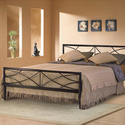 None - Sonora Full-size Platform Bed - This Sonora full-size platform bed is conveniently made to be used without a box spring. Finished in a neutral metallic black,it will match almost any decor. Its metal grill platform is lighter and stronger than conventional wooden slats.