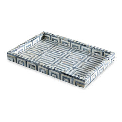 Kathy Kuo Home - Aphrodite Global Bazaar Bone Serving Tray - Keep clutter at bay and the style high with this Greek key motif bone inlaid tray.  Perfect for the chic home office, organizing remotes or creating an elegant tabletop display