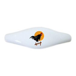Carolina Hardware and Decor, LLC - Rooster on Fence Ceramic Pull Handle, Drawer Pull - New ceramic cabinet, drawer, or furniture pull with mounting hardware included. Pull has standard three inch centers.  Can be wiped clean with a soft damp cloth. Great addition and nice finishing touch to any room!