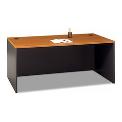 """Bush Business - 72 in. Desk in Natural Cherry - Series C - The attractive and impressive Series C 72 inch Desk in Natural Cherry can accommodate two 3-drawer, 2-drawer, or 3/4 pedestals, a right or left return and a 71 inch wide hutch.  This exemplary office desk is protected by PVC edge banding. * Desktop & modesty panel grommets for wire access. Accommodates two 3-Drawer, 2-Drawer, or 3/4 Pedestals. Accepts right or left return and 71"""" Hutch. Accepts Keyboard Shelf or Pencil Drawer. Sturdy 1""""-thick top surface. Durable PVC edge banding protects desk from bumps and collisions. Durable melamine surface resists scratches and stains. 70.984 in. W x 29.37 in. D x 29.842 in. H"""