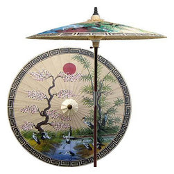 "Oriental-Décor - Asian Spring (Sand) - This extraordinary and artistic patio umbrella depicts the migration of Oriental cranes during the spring season. Each season represents a different part of life with spring being synonymous with rebirth. Through rain and shine this umbrella will provide you with years of shelter for you and your family.  - 7 foot umbrella pole constructed of rich stained oak hardwood.  - Each umbrella is entirely handcrafted down to the finest detail.  - Oil-treated cotton umbrella shades are all hand-painted by our master artists.  - Dual position shade height allows for full coverage or a better view of the painted shade.  - Waterproof and weatherproof.  - Two-piece pole fastens securely with a polished metal coupling.  - Pole diameter of 1.5"" easily fits into any standard size umbrella base or table.  - Optional umbrella base available - handcrafted from stained oak hardwood."