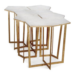 Kathy Kuo Home - Eastwood Hollywood Regency Travertine Gold Leaf Puzzle Coffee Table Set of 6 - Travertine is one of those materials that transcends the whims of fashion or trends; an eternally stylish choice.  Just ask anyone who's ever set foot in LA's Getty Center, which is constructed almost entirely from Italian travertine.  This lovely set of nesting tables - six in total- combines the flair and interest of a mid century modern shape and gold leafed metal with the serene beauty of this most versatile stone surface.