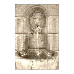 "Custom Tile Murals ~ Very Affordable - ""Lions Head Fountain"" You choose your size ! Very affordable. Choose your tile type and order a single tile sample. This design looks amazing in ""tumbled marble"" for your unique design project."