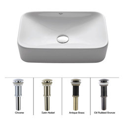 Kraus - Kraus White Rectangular Ceramic Sink with Pop Up Drain Chrome - *Add an elegant touch to your bathroom with a Kraus ceramic washbasin
